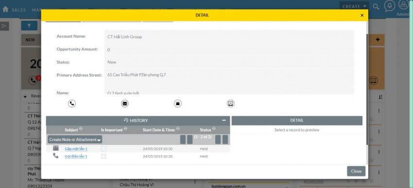 Tính năng quản lý LeadCard trên phần mềm crm