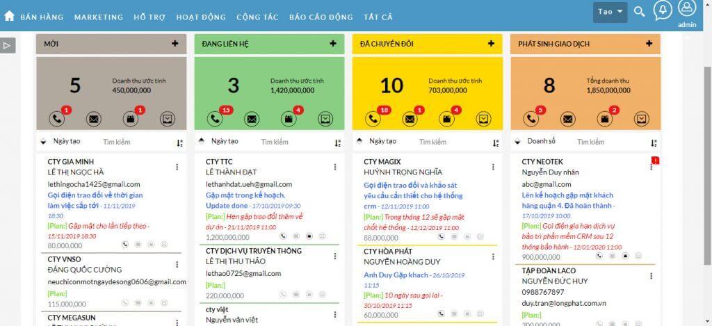 LeadCard View - CRM cho ngành thương mại dịch vụ