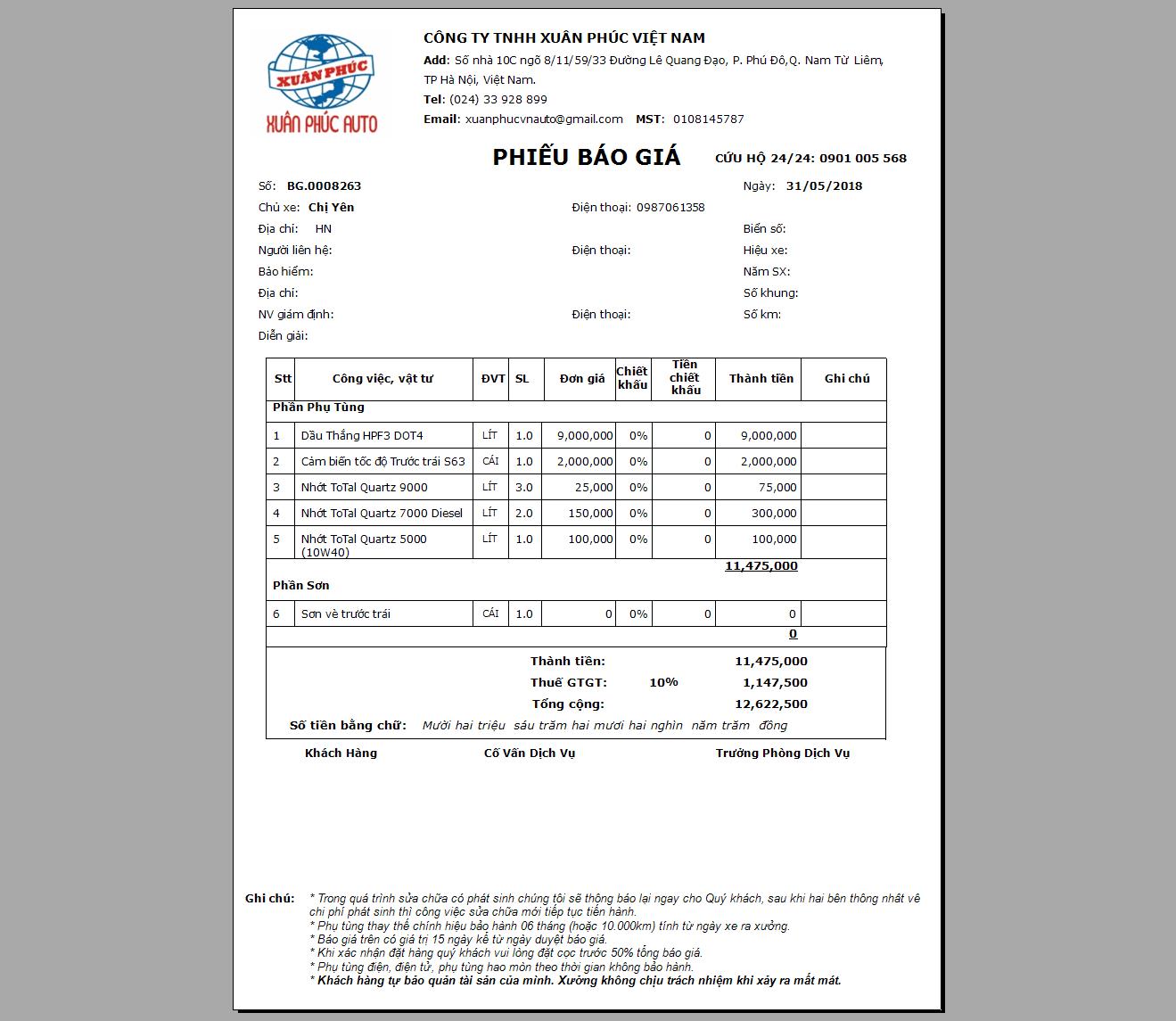 in phiếu báo giá theo mẫu -Phần Mềm Quản Lý Garage Ô Tô