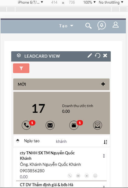 Giao diện mobile của leadcard view trên crm