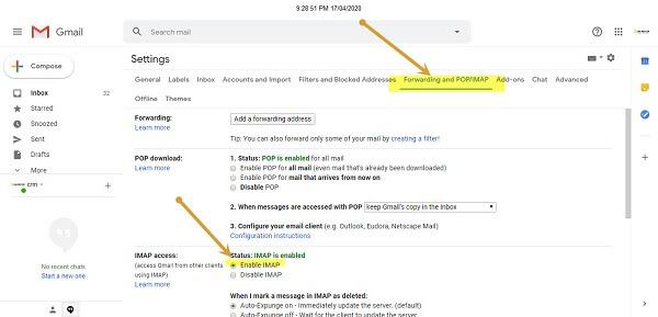 Bật chế độ imap cho gmail