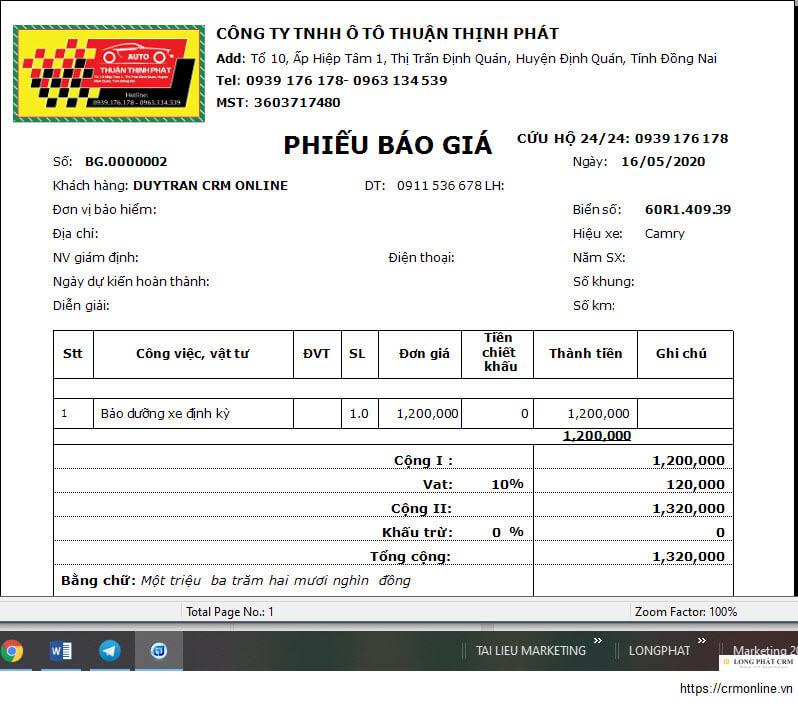 Triển khai phần mềm quản lý gara ô tô cho garage Thuận Thịnh Phát
