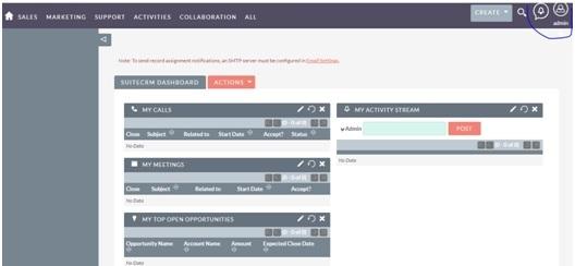 Sau khi đăng nhập thành công thì click vào Admin góc phải trên màn hình